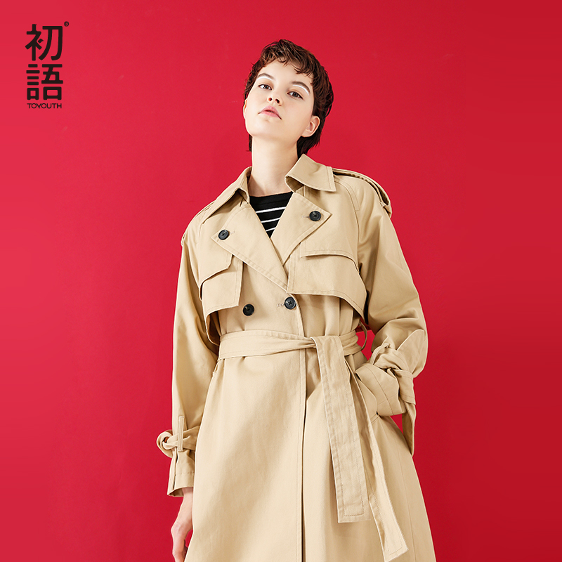 Toyouth British Style Double Breasted   Trench   Coat Female Solid Long Sleeve Camel Waterproof Windbreaker Japanese Casaco Feminino