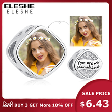 ELESHE Customized 925 Sterling Silver Square Charm Custom Photo Crystal Beads fit Pandora Bracelet Necklaces Fashion Jewelry