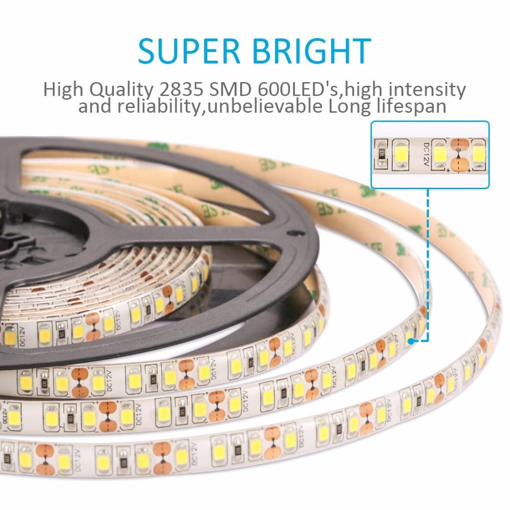 LED Strip 2835 Waterproof DC12V Flexible LED Light 120 leds/m 5m/lot White 5050 5630 Led Strip Lighting TV LCD PC background