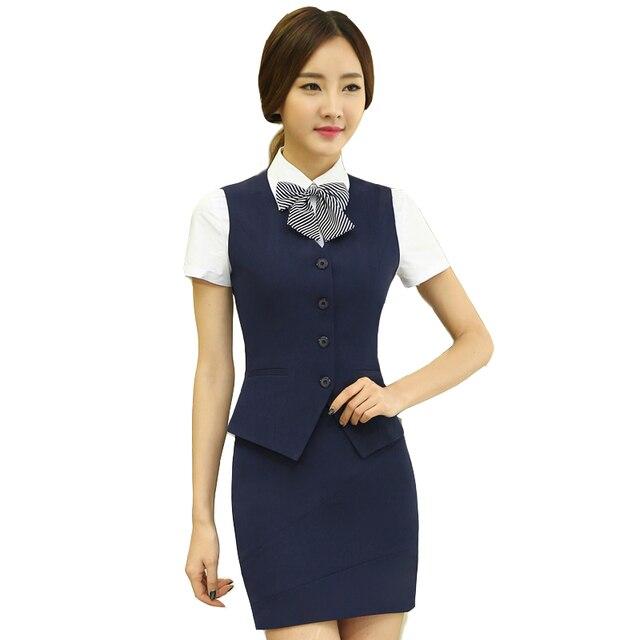 2016 летний новый рабочая одежда женская юбка костюм офис мода жилет юбка дамы формальный комплект Большой размер жилет с юбкой