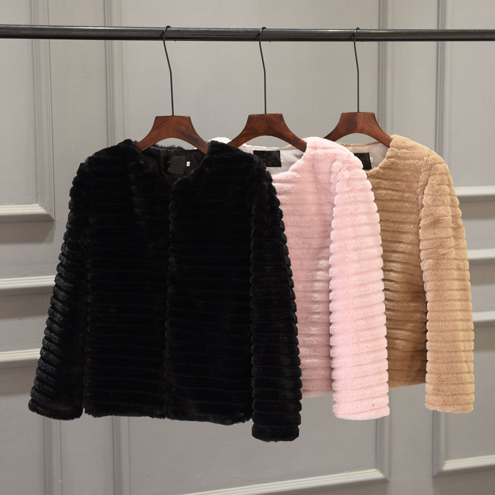 Fur Coat Jacket Outerwear Collar Long-Sleeve Furry Fluffy Women Solid-Color Autumn Round