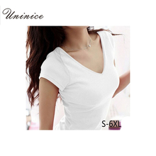 Plus Size 5XL 6XL Female Summer Style Short Sleeve T-shirts For Women Round V-Neck T Shirt Women Crop Tops Woman Clothes Fashion