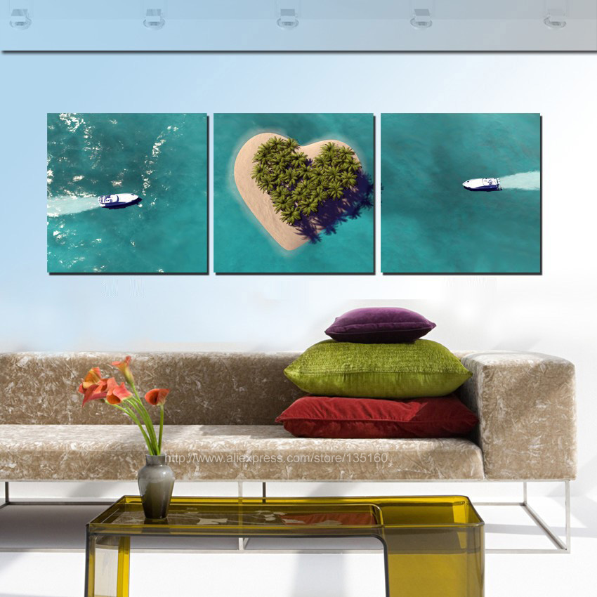 3 Panels Home Decor Ship Tropical Seascape Paintings Heart Island Oil Painting On Canvas Room Wall Romantic Decoration Unframed