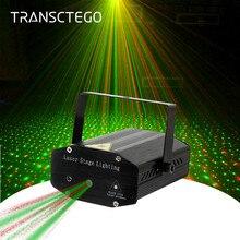 Proyector de Láser LED, luz de discoteca, Mini Flash automático RG, lámpara de sonido láser activado, control remoto, luces de sonido Fiesta Disco DJ, luz de escenario de Navidad