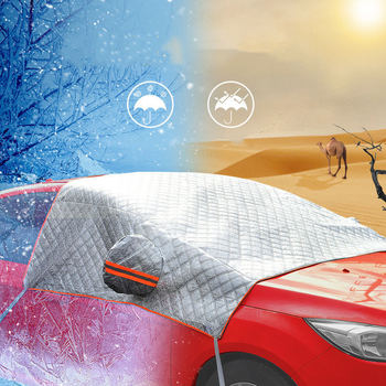 AIKESI Hot Half Cover Dust Resistant Shield Car Covers Sun Shade PEVA Car Snow Shield Auto Front Windscreen Protector Hook Up|Car Covers| |  -