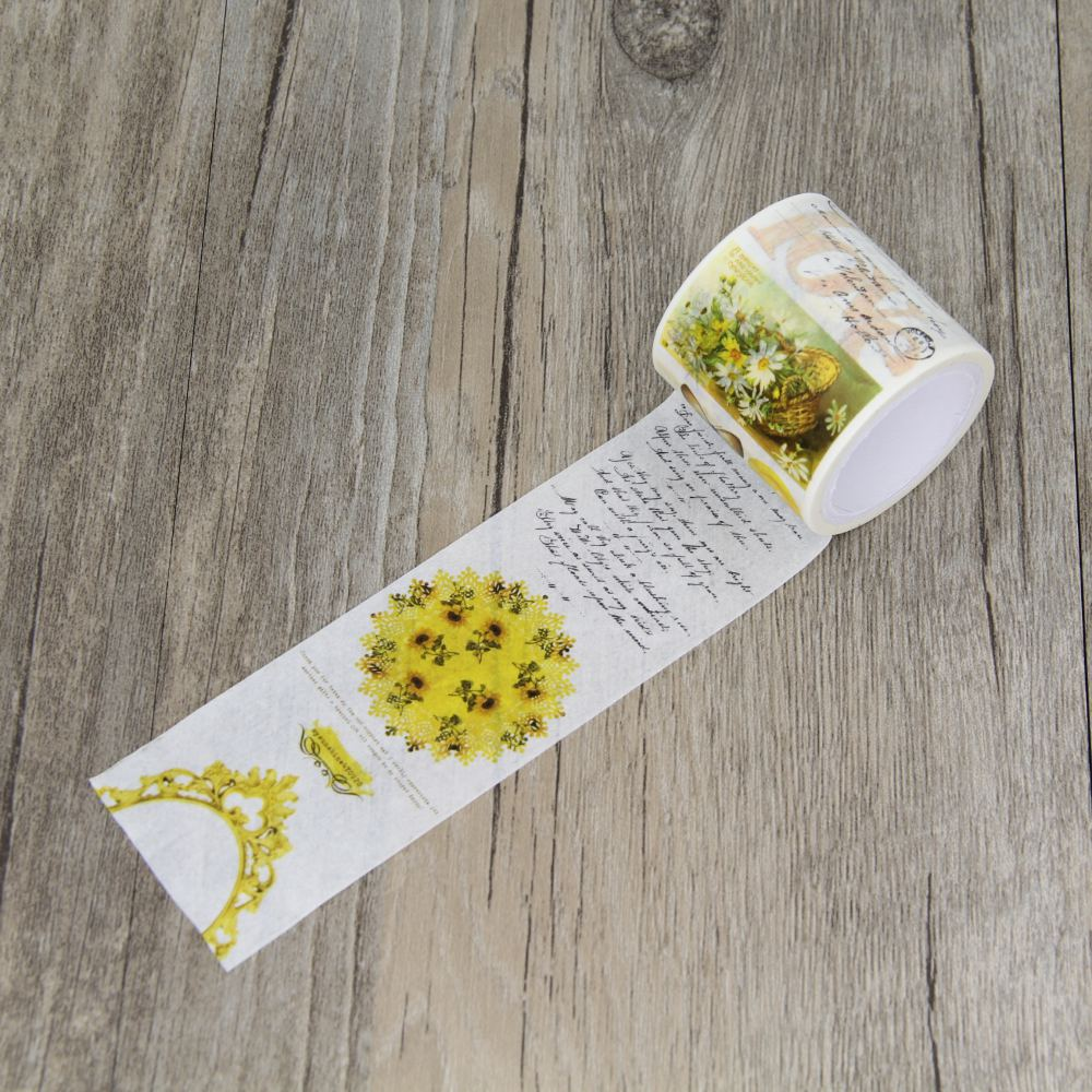 English Yellow Flower Retro Style Washi Paper Masking Tapes DIY Tape Scrapbooking Sticker Decorative Stickers 1pcs 15mm 10m kawaii scrapbooking tools diy solid color white black paper washi tapes masking tape photographic tape 02492