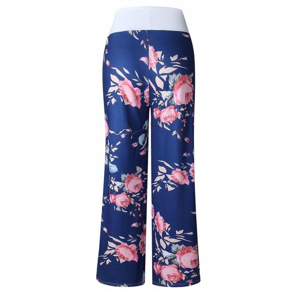 Autumn 2018 Sleep Bottoms Women Floral Print Pants Lace Up Waist Drawstring Wide Legs Trousers Loose Pijama Plus Size B88393 5
