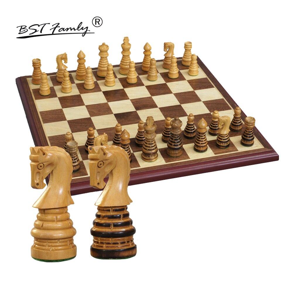 BSTFAMLY Wooden Chess Set Chessman International Chess Game Box Chessboard Poplar Wood Chess Piece King Height 79mm Toy Gift I43 32 piece wooden chess chessboard box iq training game fun game