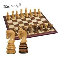 BSTFAMLY Wooden Chess Set Chessman International Chess Game Box Chessboard Poplar Wood Chess Piece King Height 79mm Toy Gift I43