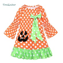 Halloween Kids Dress Pumpkin Round Dot Bowknot Baby Girl Clothes Cartoon Princess 12M-6Y