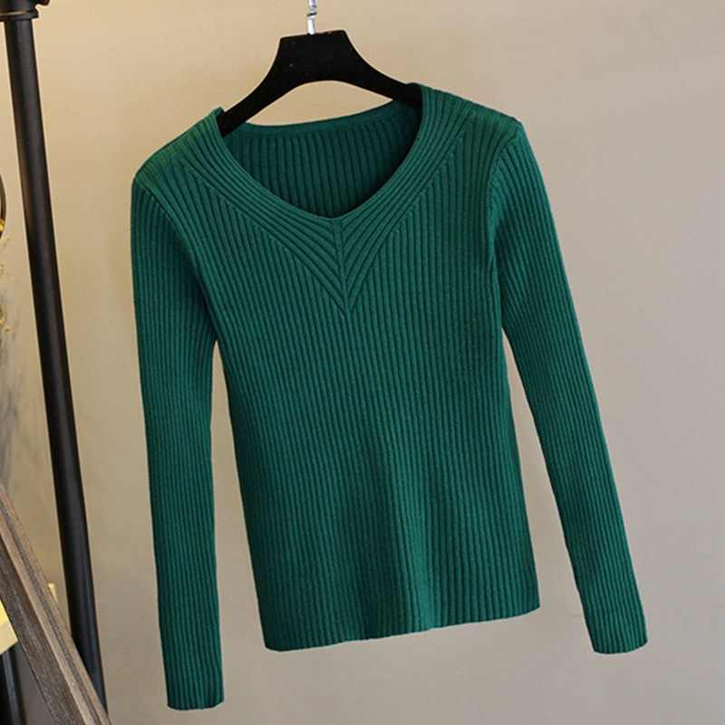 Thick Warm Ribbed Knitted Women Sweater Autumn Winter Sexy Pullover Sweater Top High Elasticity V-Neck Soft Female Jumper