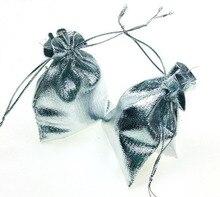 1000 unids 7*9 cm bolso de lazo bolsas de mujer de la vendimia de Plata para Wed/Partido/de La Joyería/de la Navidad/bolsa de Envasado Bolsa de regalo hecho a mano diy