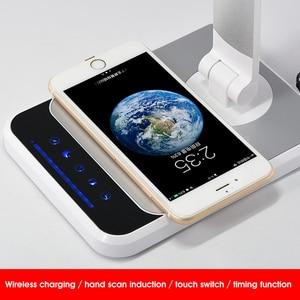 Image 3 - Lâmpada de mesa led 72 bulbo 3 cor varredura mão carregamento sem fio para o telefone 360 graus de rotação toque olho proteger com temporizador lâmpada de mesa