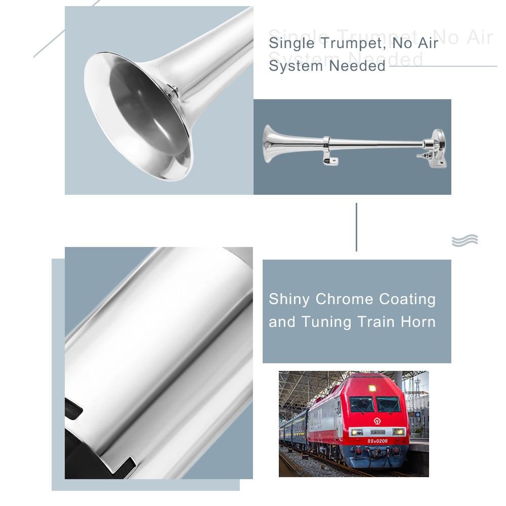 VicTsing 17 inch Single Trumpet Air Horn 12V Compressor Super Loud 150DB Air Hose Car Horn Speaker Auto Replacement Parts (13)