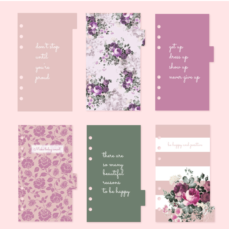 NEVER Rose Series 6 hole loose leaf Planner Dividers bookmark Index Page for Dokibook Spiral Notebook 6 Sheets school Stationery 6 hole standard punch adjustable hole punch for handmade loose leaf and bullet journal inner page pink white 6 sheets capacity page 5 page 7 page 4
