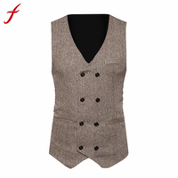 Men Formal Tweed Check Double Breasted Waistcoat Retro Slim Fit Suit Jacket