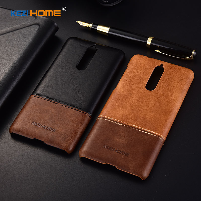 KEZiHOME Luxury Genuine Leather Case for Nokia 8 Hit Color Anti-knock Hard Back Cover for Nokia 8 5.3 Case for Nokia