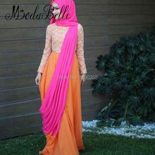 Long Sleeve Muslim Hijab Orange Evening Dress A Line Kaftans Robe Orientale Dubai Abendkleid Moslemische Formal Occasion Dresses