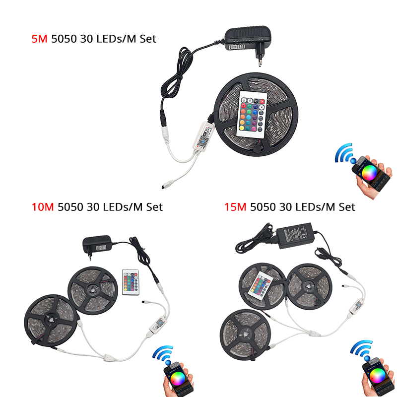 Image 5 - 5M 5050 RGB WIFI LED Strip light Waterproof RGB 10M 15M led ribbon tape Remote WIFI Wireless Controller 12V power adapter Kit-in LED Strips from Lights & Lighting