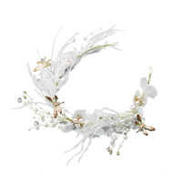 New Korean Style Pearl Silk Yarn Bride Hair Beautiful Fairy Gold Dragonfly White Feather Headwear Accessories 0414 04