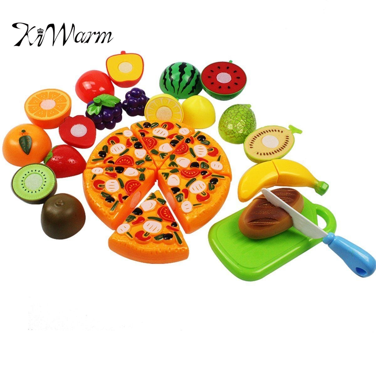 KiWarm 18pcs Fruit Vegetable Kitchen Pretend Food Cutting Toys Set Role Play Kids For Home Ornament Crafts