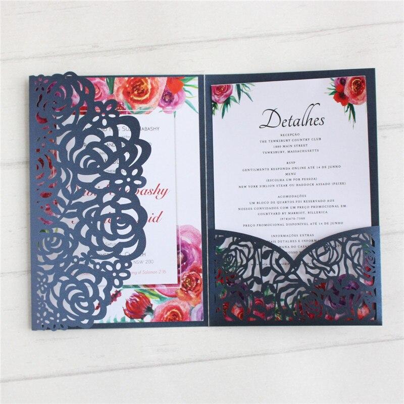 Bruiloft uitnodigingskaart met rsvp envelo pocket p tri vouwen marineblauw elegante universele uitnodigingen-in Kaarten & Uitnodigingen van Huis & Tuin op  Groep 1