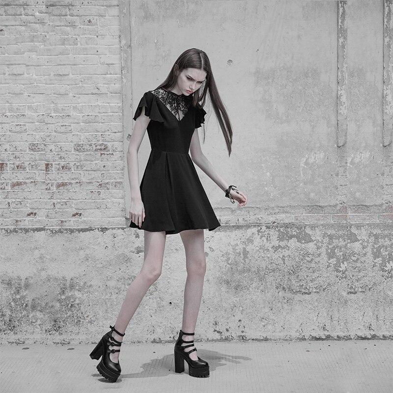 펑크 레이브 고딕 여성 패션 레이스 스티치 v 칼라 연꽃 잎 우아한 블랙 슬림 버전 주름 방지 쉬폰 드레스-에서드레스부터 여성 의류 의  그룹 2