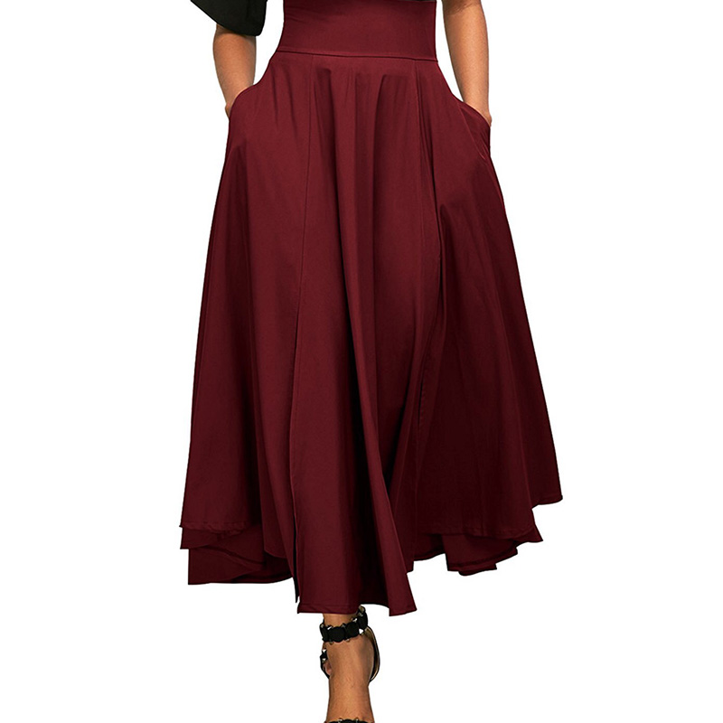 new Ladies A-line skirts Womens High Waist pokets bow tie Pleated Long Skirt Front Slit Belted vintage elegant Skirt summer 2018