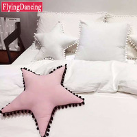Hot Sale Small Pompon Pendant Pink Five Pointed Star Cushions With Inner 100 Cotton Home Decor