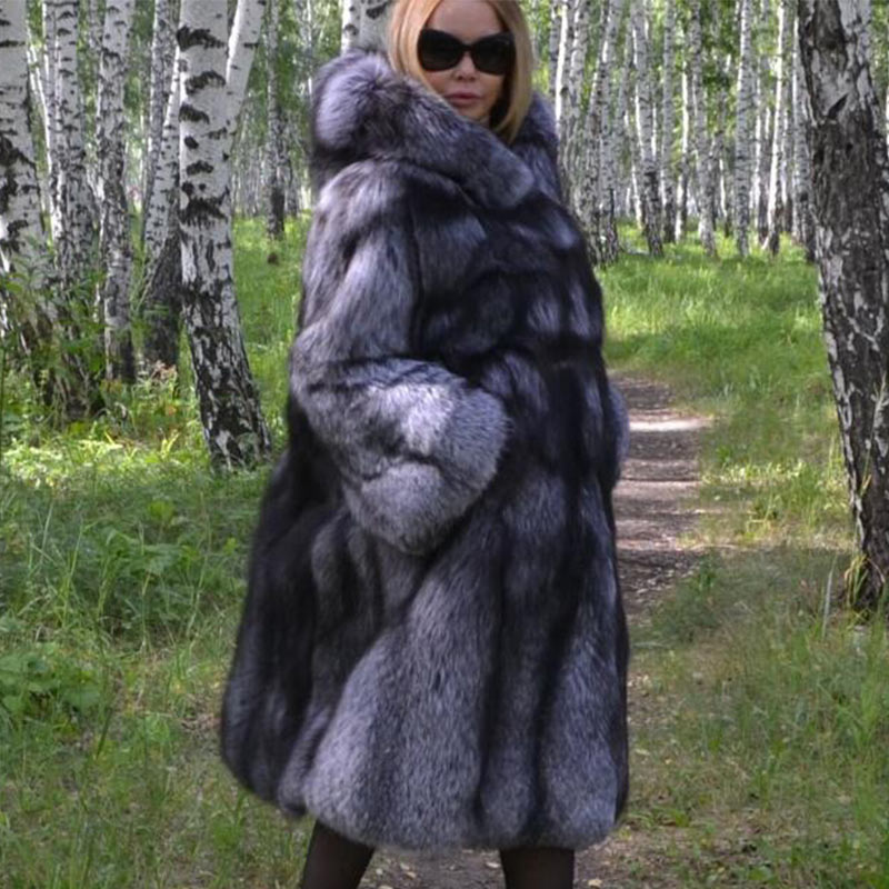0d85b615b Furealux Super Long Real Silver Fox Fur Coat With Hood For Female Thick  Warm Winter Whole Skin Natural Fox Fur Coats Outerwear