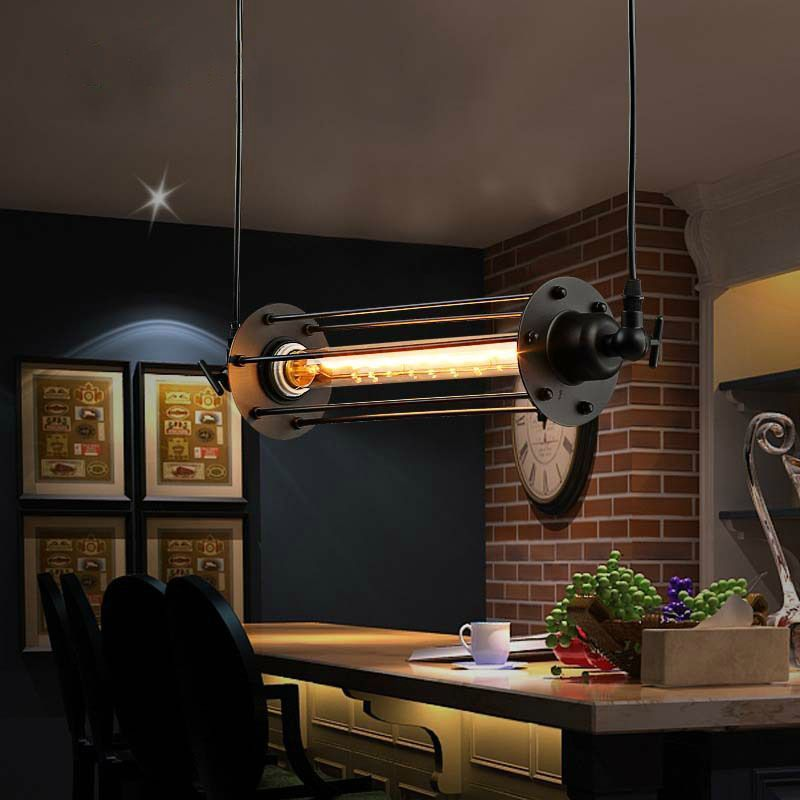 LukLoy Vintage Flute Pendant Light Fixtures, Industrial Retro Pendant Lamp for Kitchen Island Bar Living Room E27 220V luminaire lukloy pendant lights lamp vintage iron retro kitchen pendant lamp light for dining room kitchen island decor e27 e26 luminaire