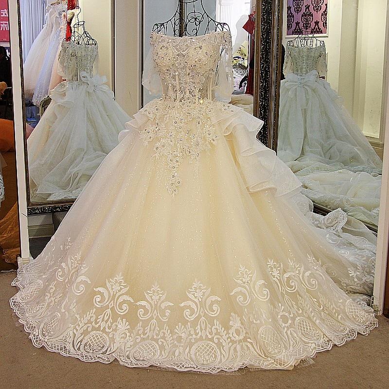 LS01178 Latest Champagne Wedding Dresses Off Shoulder Bling Beaded ...