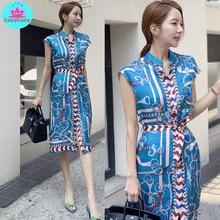 2019 summer new Korean ladies temperament single-breasted belt waist print dress