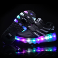 HOT 2017 Children Wheel Shoes With One And Two Wheels PU Leather  LED Lighted Kids Roller Shoe Boy & Girls Fashion Sneakers