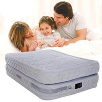 INTEX Inflatable Bed New Double Layer Pull Air Mattress Built in Electric Pump Double Plus Air Cushion
