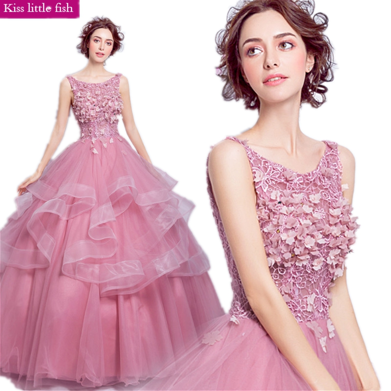 7201 Free shipping elegant pink vestido de festa longo de luxo evening dresses long evening party