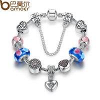 BAMOER Strand Bracelet Silver Plated Friendship Bracelets With Blue Heart Charms DIY Girl Bracelet Accessories PA1882