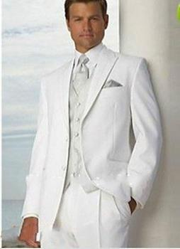 White Formal Groom Tuxedos Men Wedding Suits Groomsman Suit Wedding Tuxedos Business Prom Custom Made Suits A0173