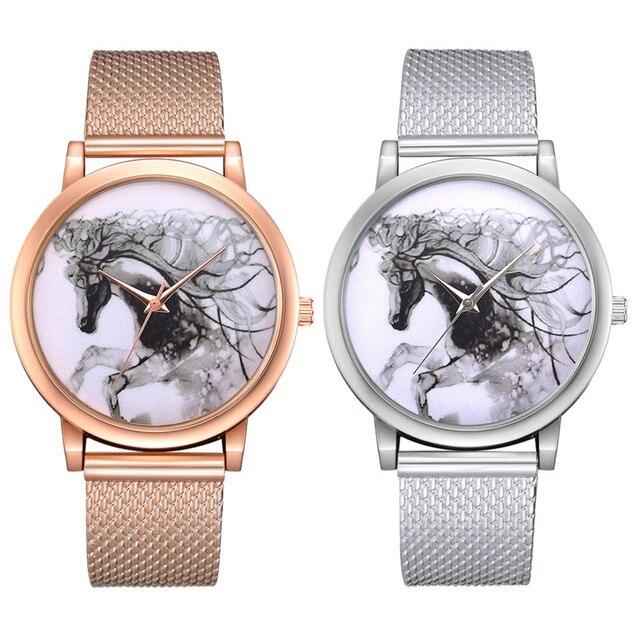 Top Brand Watches Women Fashion Horse Plastic Alloy Mesh Unisex Sport Watch Men