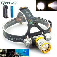 high Power T6 LED Diving headlamp frontal headlight underwater Head Torch lamp ultra bright flashlight Waterproof fishing