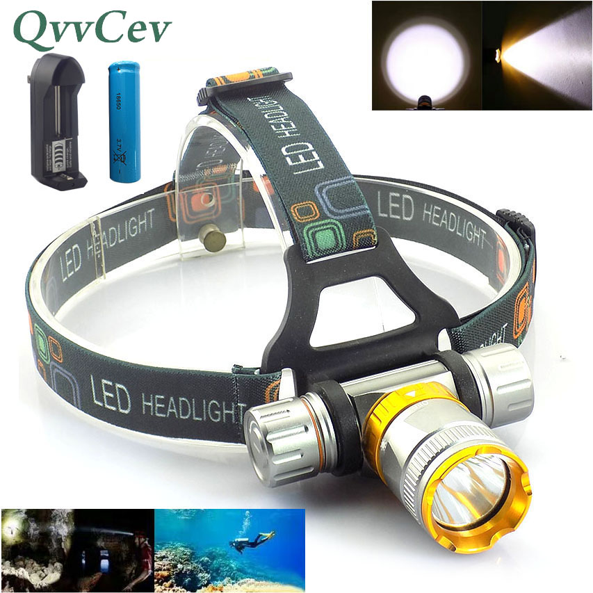 high Power T6 LED Diving headlamp frontal headlight underwater Head Torch lamp ultra bright flashlight Waterproof fishing r3 2led super bright mini headlamp headlight flashlight torch lamp 4 models