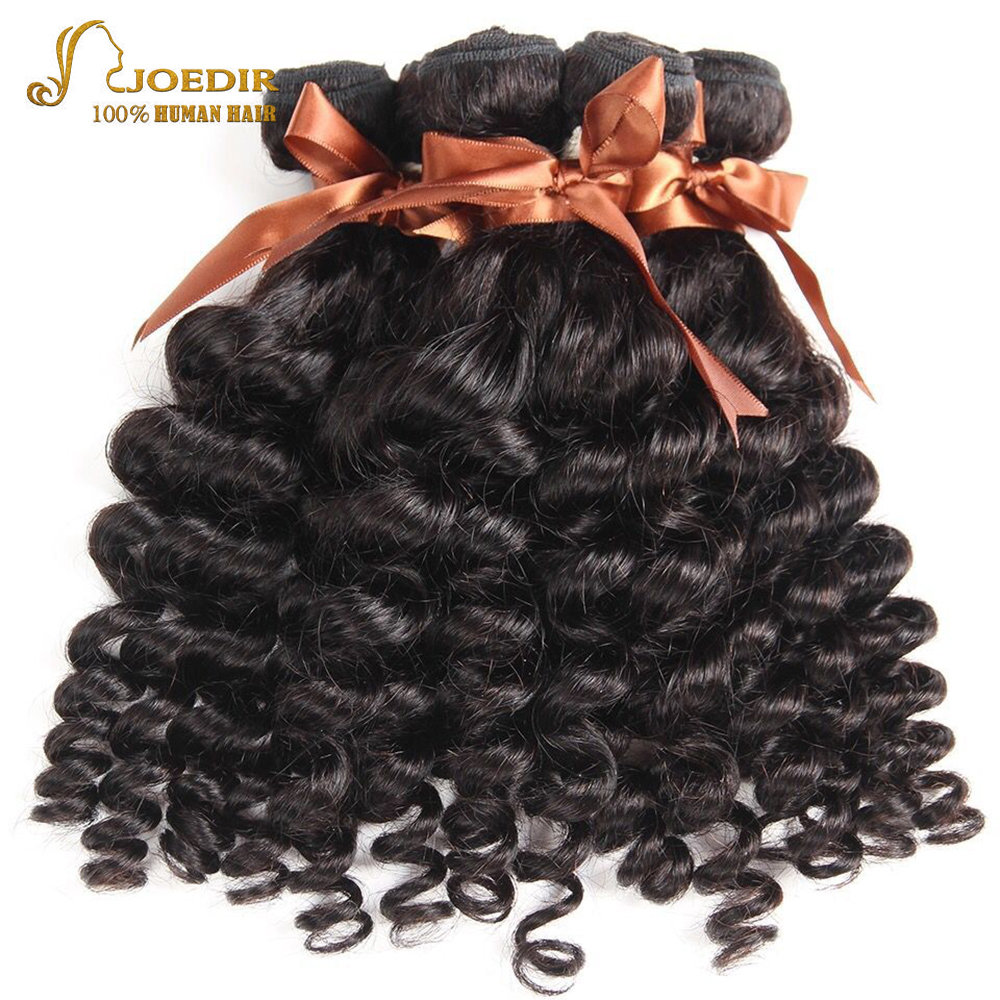 Joedir Hair Peruvian Funmi Curly Hair Weave Natural Color Human Hair Weave 4 Bundles Deal Non Remy Hair Extensions Free Shipping