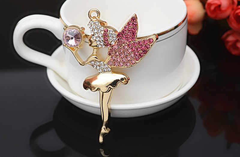 מכירה לוהטת ריינסטון בלט רקדנית קריסטל מלאך כנפי מפתח שרשרת לנשים רכב Keychain תכשיט קסם תיק מפתח טבעת בעל תכשיטים