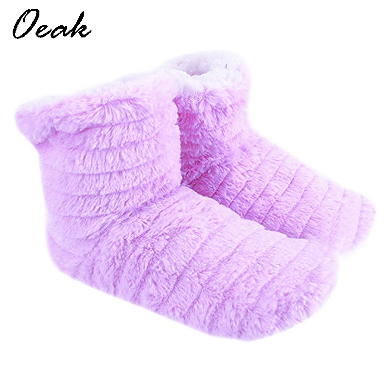 цена на Oeak Women's High-top Shoes Thick Plush Warm Indoor Shoes Non - slip Soft Bottom Indoor Boots Cute Bow Home Floor Shoes