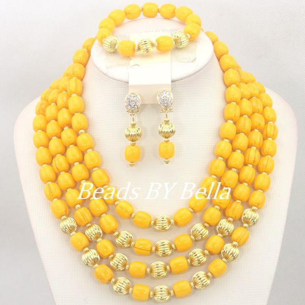 Top Quality African Wedding Yellow Beads Necklace Bridal Sets Fashion Jewelry Set Nigerian Party Beads Set Free Shipping ABC1184Top Quality African Wedding Yellow Beads Necklace Bridal Sets Fashion Jewelry Set Nigerian Party Beads Set Free Shipping ABC1184