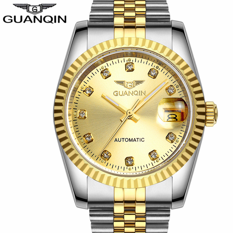 GUANQIN Watches Men Business Luxury Top Brand Automatic Self-Wind Date Watch Gold Steel Sport Waterproof Mechanical Wristwatch guanqin newest watch men top brand luxury men watch business automatic date mesh strap watches waterproof mechanical wristwatch