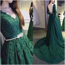 2016 elegante A-Line Langarm Grün Prom Kleid Mit Applqiues Und Kristall Lange Frauen Abendkleid Benutzerdefinierte vestido de festa