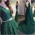 2016 Elegante Una Línea de Manga Larga Vestido de Fiesta Verde Con Applqiues Y Cristal Vestido de Noche Largo Mujeres de Encargo vestido de fiesta
