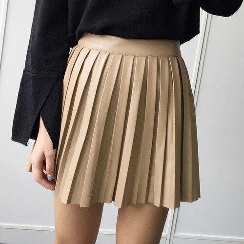 Pleated Skirt Autumn/Winter 2016 European Style Elegant PU Leather Pleated Skirt Black Skirt Women's Vintage Mini Skirt
