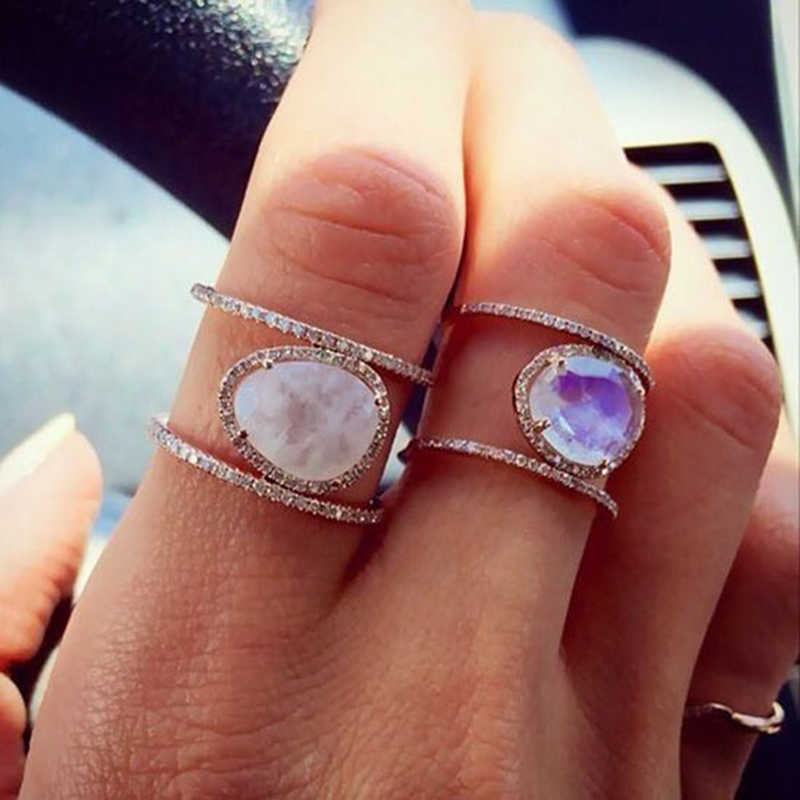 Irregular Natural Moonstone Rings For Women Micro Paved Zirconia Rings Vintage Plated Rose Gold Rings With Stone Wedding Ring